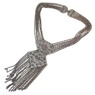 Silvertone Egyptian Revival Necklace