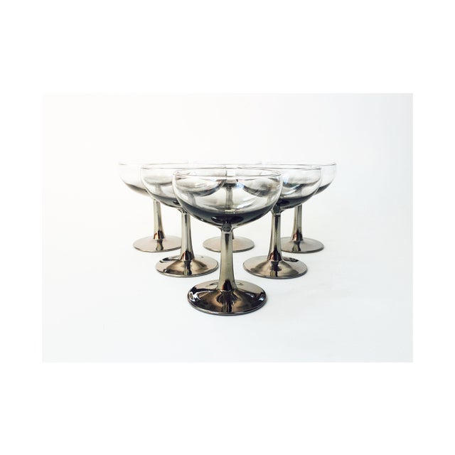 Mid Century Silver Ombre Coupe Cocktail Glasses - Set of 6 - Image 2 of 5