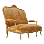 Image of Antique French Gilded Louis XV Style Settee