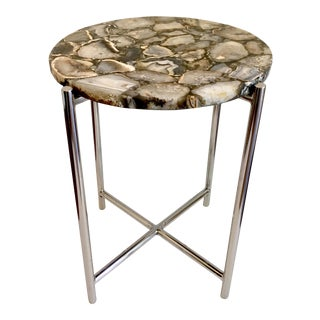 Vintage Chrome & Onyx Side Table