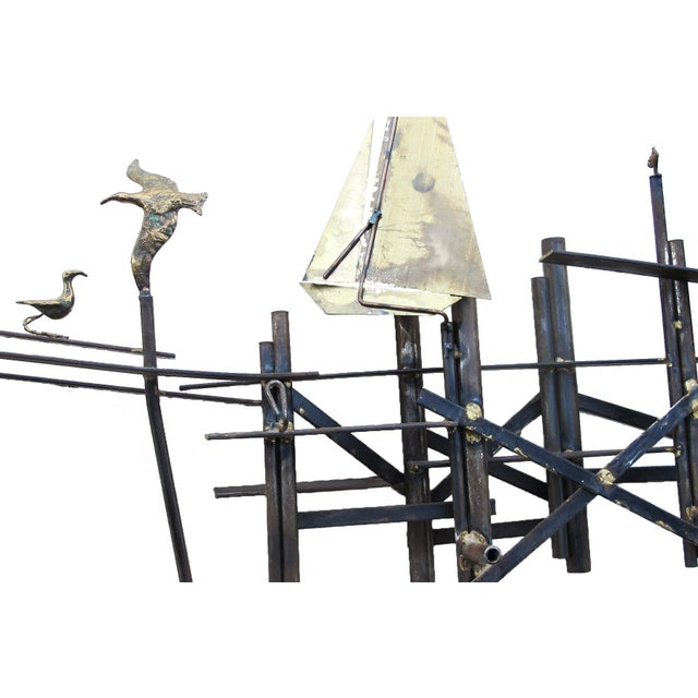 Mid-Century Modern Brass Sailboats Wall Art - Image 2 of 3