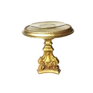 Hollywood Regency Gold Pedestal Side Table