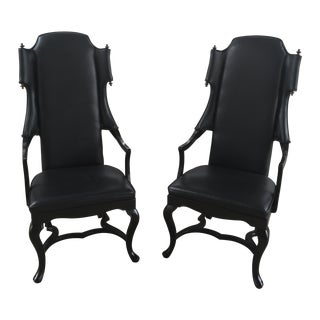 Jim Peed for Drexel Tall Wingback Chairs - A Pair