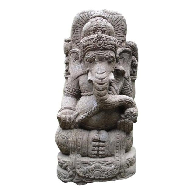Green stone carved ganesha chairish