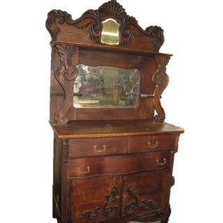 Antique Wood Double Mirror Sideboard Buffet
