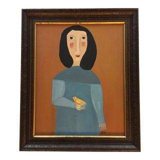 """Contemporary Folk Artist Rose Walton """"Peep"""" Original Painting"""