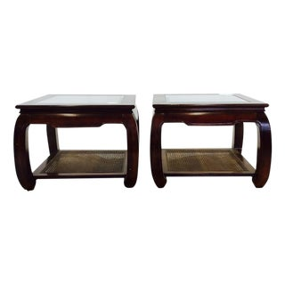 Glass Top Ming Foot Side Tables - A Pair