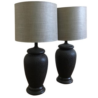 Hammered Oiled Bronze Table Lamps - A Pair