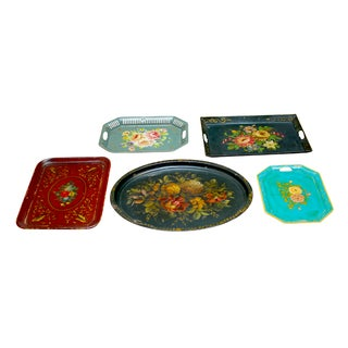 Vintage Collection of Tole Trays - Set of 5