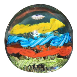 Brilliantly Colored Italian Art Glass Paperweight From 1970s