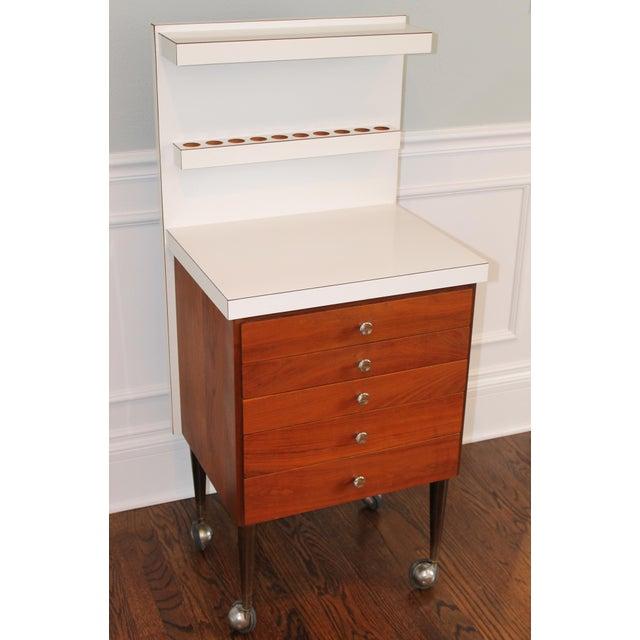 Vintage Rosewood 5-Drawer Cabinet on Casters - Image 9 of 9