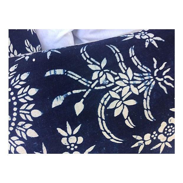 Antique Floral Indigo Batik Pillows - A Pair - Image 4 of 5