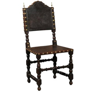 English Early 20th Century Single Leather Side Louis XIII Style Chair