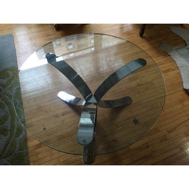 Chrome Base Circle Glass Top Coffee Table - Image 9 of 11