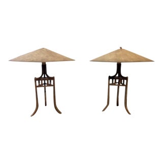 Asian-Style Metal Saucer Table Lamps - A Pair