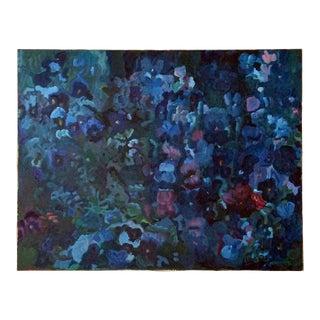 Study of Blue Pansies, Painting by U. Roos (#69-02)