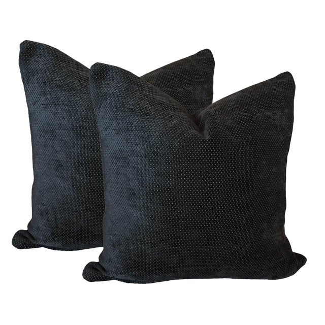 Charcoal Gray Chenille Pillows - A Pair - Image 1 of 2
