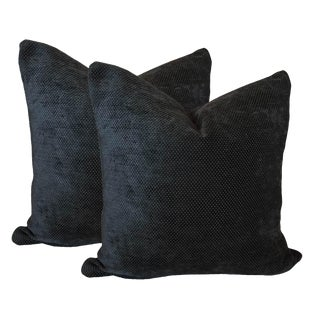 Charcoal Gray Chenille Pillows - A Pair