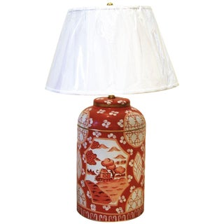 Coral Canton Tea Caddy Lamp