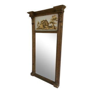 Federal Giltwood Mirror With Reverse Painted Panel