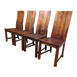 Vintage Wooden Dining Chairs - Set of 4