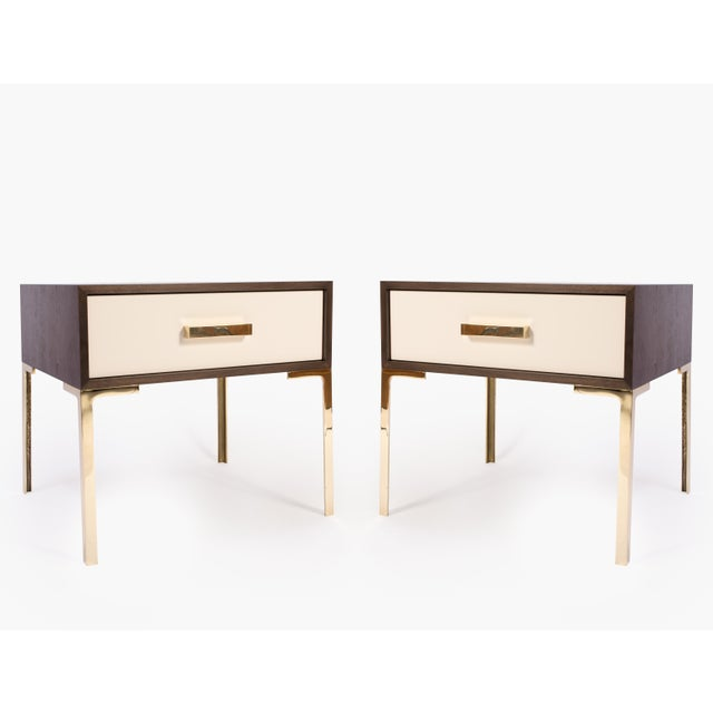Astor Nightstands in Contrasting Ebony & Ivory by Montage - Pair - Image 3 of 11