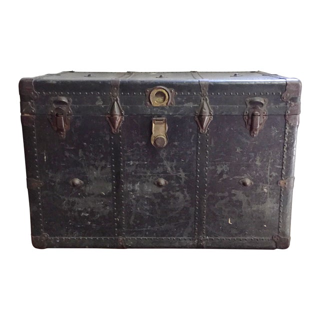 Vintage Leather Handle Steamer Trunk - Image 1 of 9