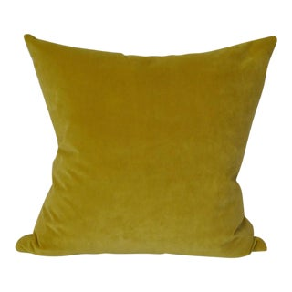 Yellow Velvet Square Throw Pillow