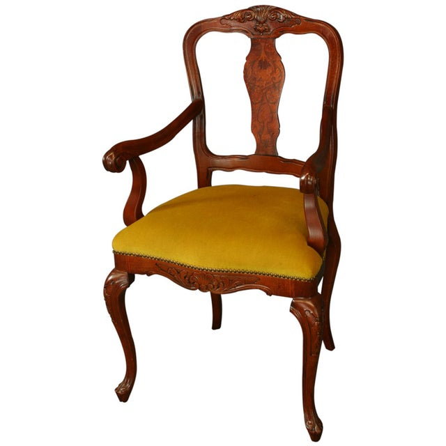 Italian Rococo Arm Chair with Inlaid Marquetry - Image 1 of 8