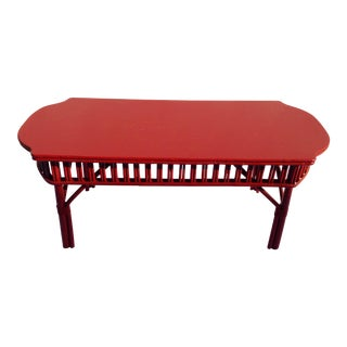 Painted Red Rattan Coffee Table