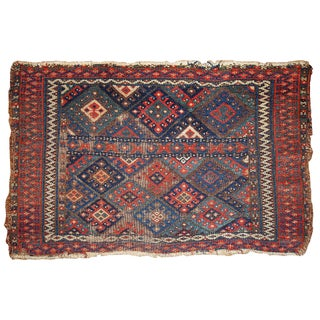 1880s Handmade Antique Persian Kurdish Bagface Rug - 1.9' X 2.9'