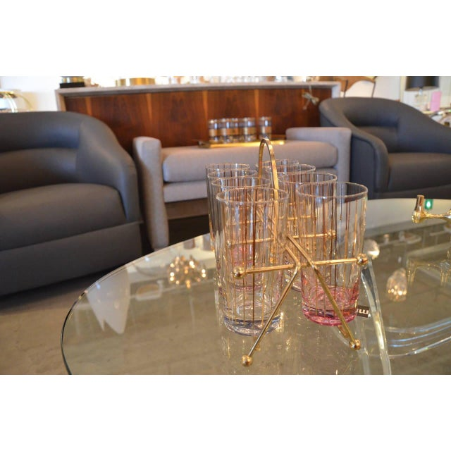 Set of Eight Mid-Century Gold Stripe Tom Collins Glasses with Brass Caddy - Image 3 of 6
