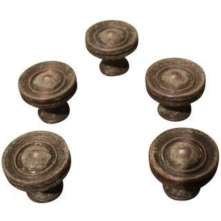 Mid-Century Brass Drawer Knobs - Set of 5