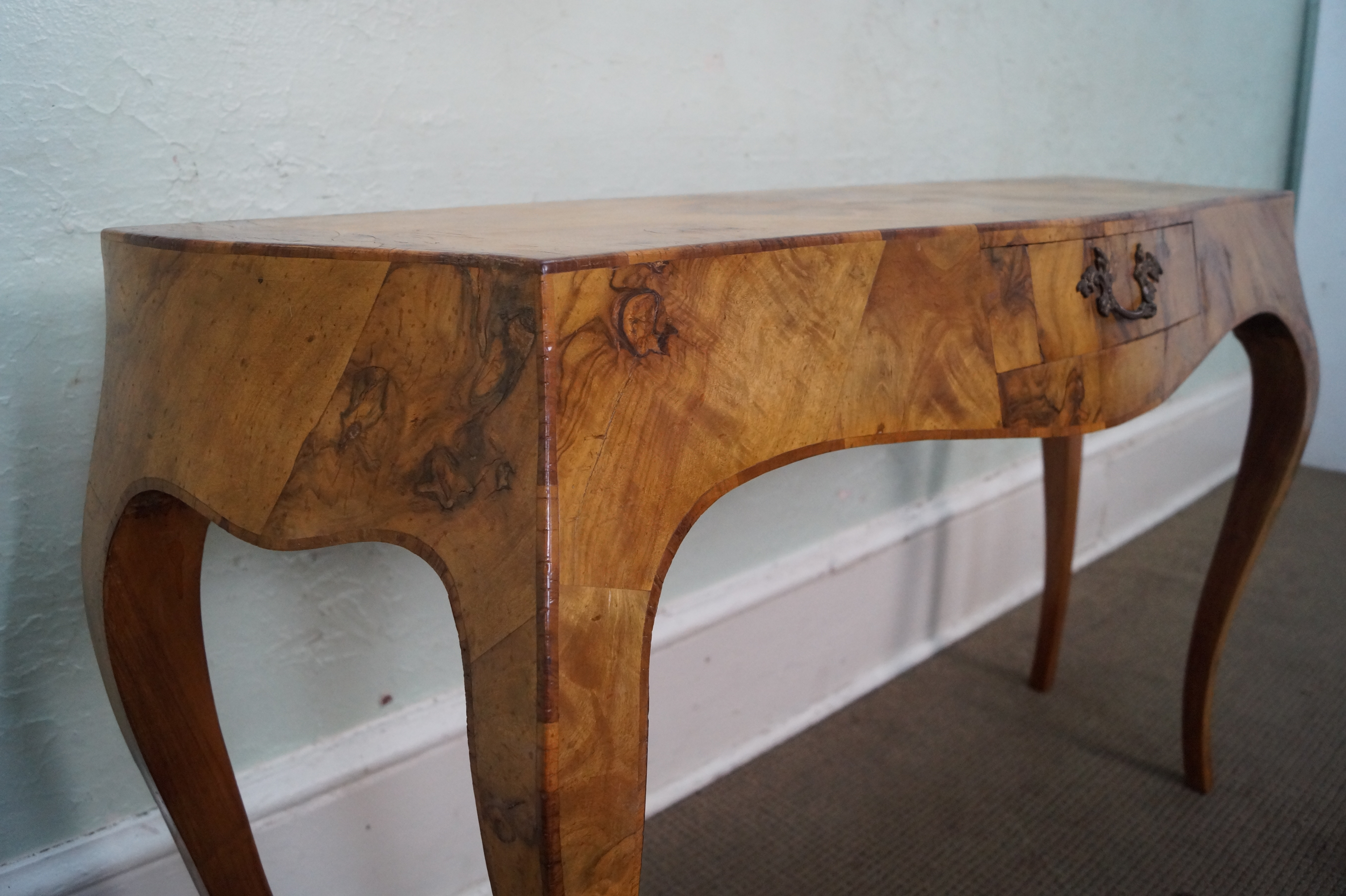 Vintage Italian Olive Wood Console Table   Image 10 Of 10