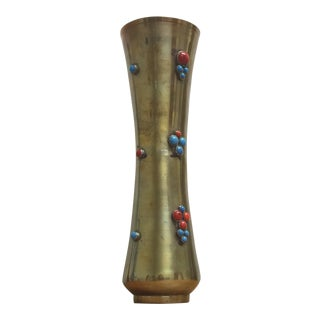 Brass Vase with Turquoise & Coral Cabochons