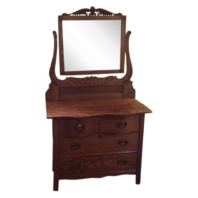 Victorian Oak Dresser With Mirror - Image 1 of 4