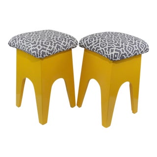Mid-Century Modern Marigold Geometric Pattern Stools - A Pair