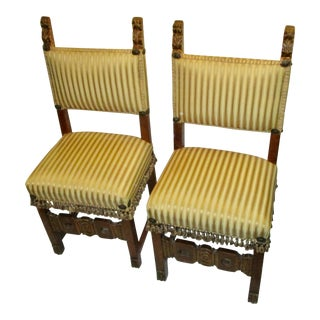 17th Century Style Italian Side Chairs - a Pair
