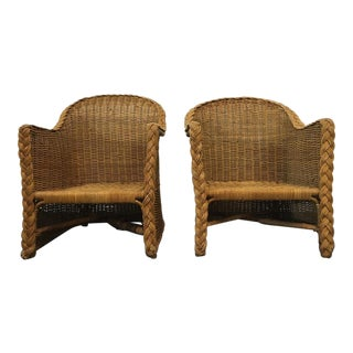 Vintage Woven Wicker Armchairs - A Pair