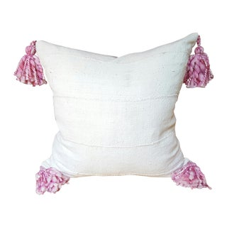 "African Pom Pom Mud Cloth Pillow 22"""