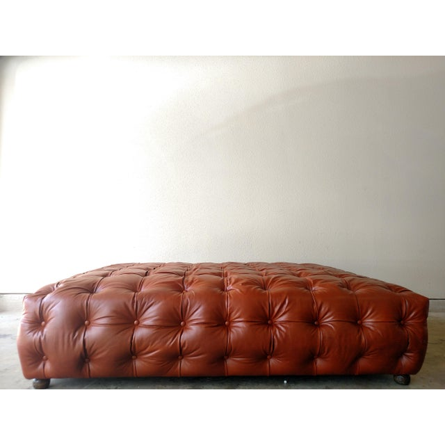 Saddle Brown Tufted Leather Ottoman - Image 2 of 6