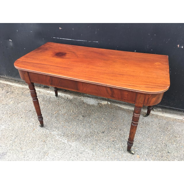 Antique English Walnut Writing Desk on Brass Casters - Image 2 of 11