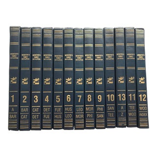 1989 Family Webster Navy Books With Gold Spines - Set of 13