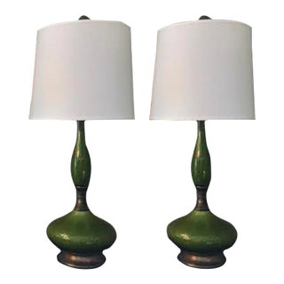 Mid-Century Green & Brass Lamps - A Pair