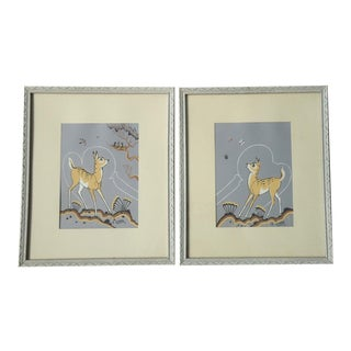 Deer With Butterflies by Robert Chee Pair of Navajo Prints - A Pair