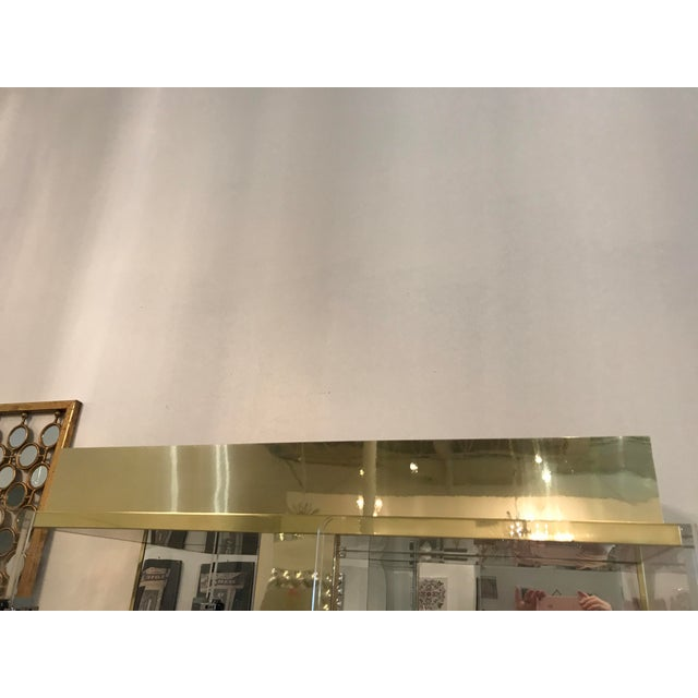 Tall Lucite, Mirror and Gold Tone Metal Cabinet with Upper and Lower Lighting - Image 7 of 10