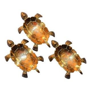 Vintage Brass Turtle Trays - Set of 3