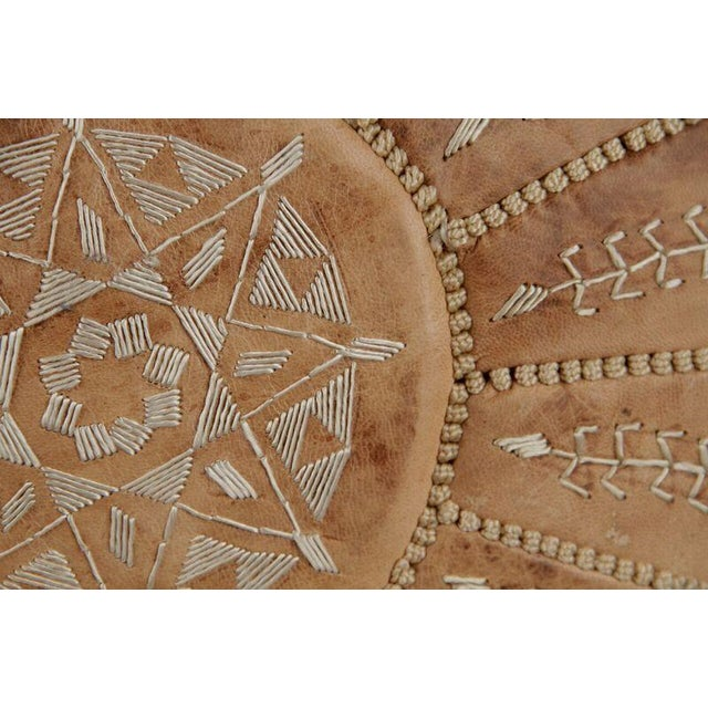Embroidered Natural Desert Starburst Leather Pouf - Image 3 of 3