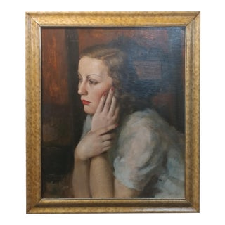 """1940s Victorio Gussoni """"Woman Contemplating"""" Oil Painting"""