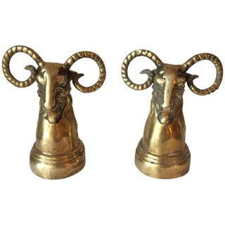 Brass Ram Head Bookends - A Pair